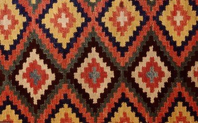Double interlocked tapestries – rölakan. Simple stars in combination with other design (closeup detail). | Collection: Bara Farmstead museum, Sweden.