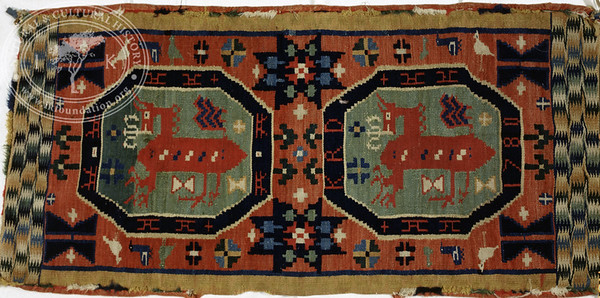 Double interlocked tapestries – rölakan.  Supernatural horse in octagonal frames, surrounded by stars, hearts etc [KRD 1780]. | Collection: Halmstad museum, Sweden.