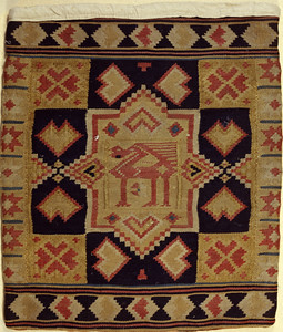 Double interlocked tapestries – rölakan. Lion or trees in octagonal frames. | Collection: Helsingborg museum, Sweden.