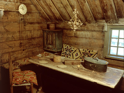 Double interlocked tapestries – rölakan. Interior of cottage, including bench covers and cushions. | Collection: Broby Farmstead museum, Sweden.