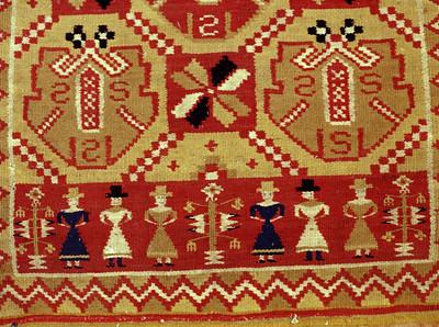 Double interlocked tapestries – rölakan. Pomegranates/palmettes in diagonal framing (detail of border). | Collection: Helsingborg museum, Sweden.