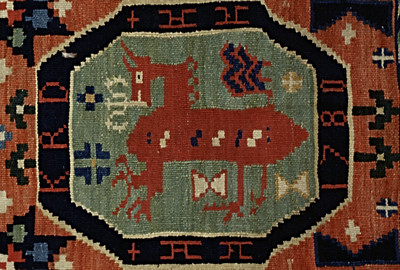 Double interlocked tapestries – rölakan. Supernatural horse in octagonal frames, surrounded by stars, hearts etc (closeup detail 'KRD 1780'). | Collection: Halmstad museum, Sweden.
