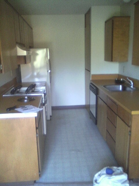 Kitchen in the runner up apartment located downtown