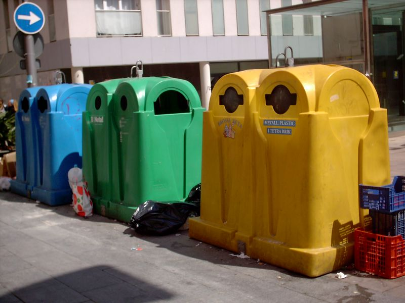 These are what the recycling bins look like here. These were right in front of the university.