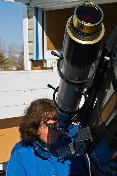 Viewing the sun with a telescope and solar filter at The Geoff Brown Observatory near Thornbury Ontario.