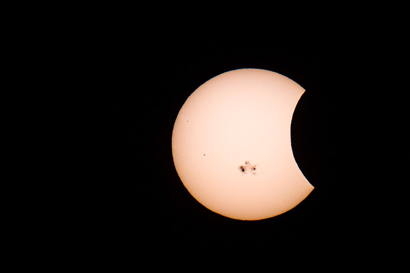 Partial Solar Eclipse on Oct. 23/13<br /> Taken at the Carr Astronomical Observatory near Thornbury Ontario.<br /> The marks are sunspots.