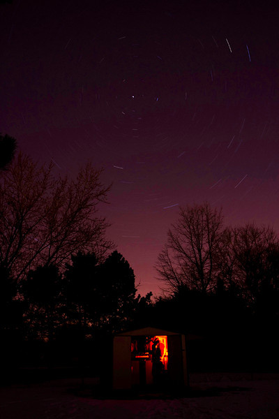 30 minute star trails over my backyard observatory.