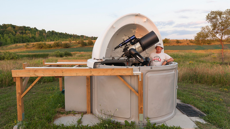 My New Observatory!  11 inch Celestron CPC DeluxeHD Schmidt-Cassegrain Telescope, f/10, 2800mm 3.6 inch Williams Optics APO refactor telescope, f/7.1, 550mm (for viewing the sun, moon planets and autoguiding) Celestron Pro Wedge (to track the rotation of the earth) Celestron Autoguider (to keep the telescope lined up on an individual star) ADM rail and counter-weight. JMI focuser Teleview Everbrite diagonal