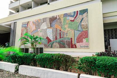 Editorial photo only. Frontage mural Premier Hotel Ibadan Nigeria by Buraimoh.