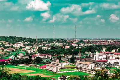 Aerial photo of Alexander Brown Hall (left) and the School of Nursing (right) at the University College Hospital UCH  Ibadan Oyo State Nigeria. Ibadan city in the distance.
