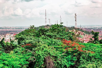 An array of Telecommunication towers on Mokola Hills Ibadan Oyo State Nigeria.