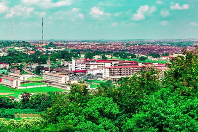 Aerial photo of the University College Hospital UCH  Ibadan Oyo State Nigeria in the foreground. School of Nursing to the left and Ibadan city in the distance.