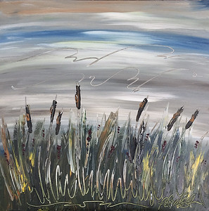 Early morning cattails. Primary study.