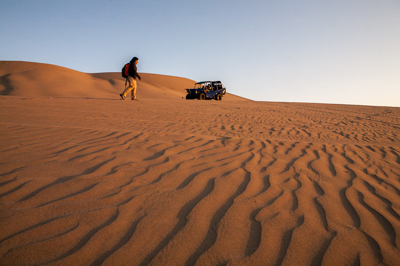 A walk over the desert of Huacachina near Ica, a city in Peru