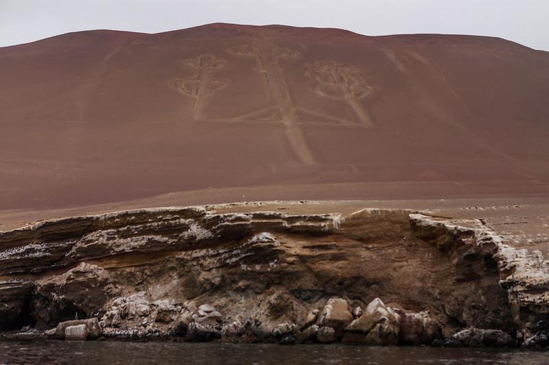 Geoglyph Candelabra near Islas Ballestas, Peru