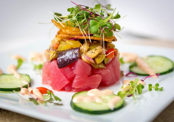 Ahi tuna , eggplant caponata , aioli sauce