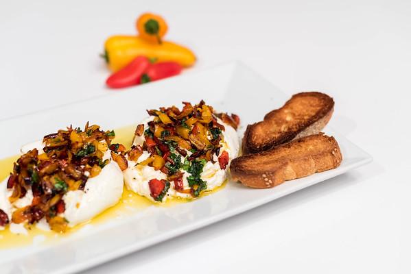 Burrata, caramelized peppers