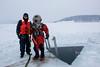 MK V diver going ice diving
