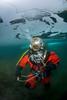MK V Hard Hat diver under the ice
