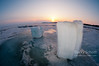 Ice blocks at sunset
