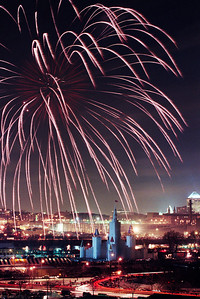 1992 Winter Carnival Ice Castle---IC-7011 A large fireworks show preceded the lighting of the 1992 Ice Castle.