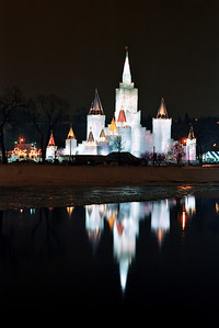 1992 St. Paul Winter Carnival Ice Castle is reflected in the mighty Mississippi as viewed from Sheperd Rd---IC-7018
