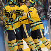 During the 2011 West Regional finals at Scottrade Center in St. Louis, Missouri.  Michigan team members celebrate the first goal of the game.  Michigan held on to defeat Colorado 2 to 1 to advance to the frozen four.