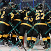 During the 2011 West Regional finals at Scottrade Center in St. Louis, Missouri.  The Colorado College team get together for one more team moment before the game starts.  Michigan held on to defeat Colorado 2 to 1 to advance to the frozen four.