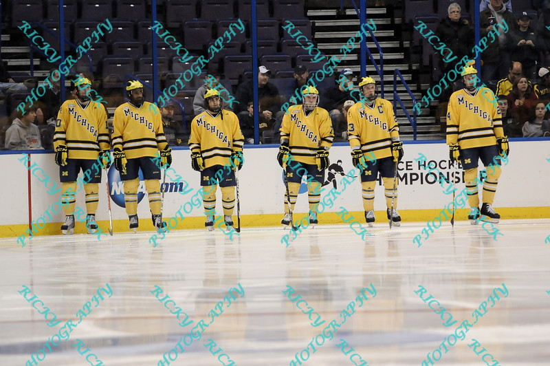 During the 2011 West Regional finals at Scottrade Center in St. Louis, Missouri.  Players from Michigan wait patiently for the game to begin as the pre game introductions are done.  Michigan held on to defeat Colorado 2 to 1 to advance to the frozen four.