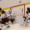 During the 2011 West Regional playoffs at Scottrade Center in St. Louis, Missouri.  Colorado left winger Jaden Schwartz (8) puts the puck past goalie John Muse (1) for a goal.  Colorado College controlled the game as they defeated Boston College 8 to 4 to advance to the West Regional finals.