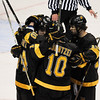 During the 2011 West Regional playoffs at Scottrade Center in St. Louis, Missouri.  Members of the Colorado College Tigers celebrate after a goal.  Colorado College controlled the game as they defeated Boston College 8 to 4 to advance to the West Regional finals.