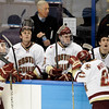 During the 2011 West Regional playoffs at Scottrade Center in St. Louis, Missouri.  Members of the Boston College bench relax during a stoppage in play.  Colorado College controlled the game as they defeated Boston College 8 to 4 to advance to the West Regional finals.