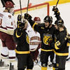 During the 2011 West Regional playoffs at Scottrade Center in St. Louis, Missouri.  The Colorado players celebrate a goal by Rylan Schwartz (13) Colorado College controlled the game as they defeated Boston College 8 to 4 to advance to the West Regional finals.