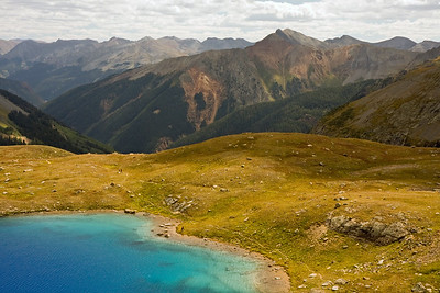 On our final day, we hiked above Upper Ice Lake to go even higher and check out the saddle between Golden Horn and Pilot Knob...this was the view looking back down at Upper Ice Lake.