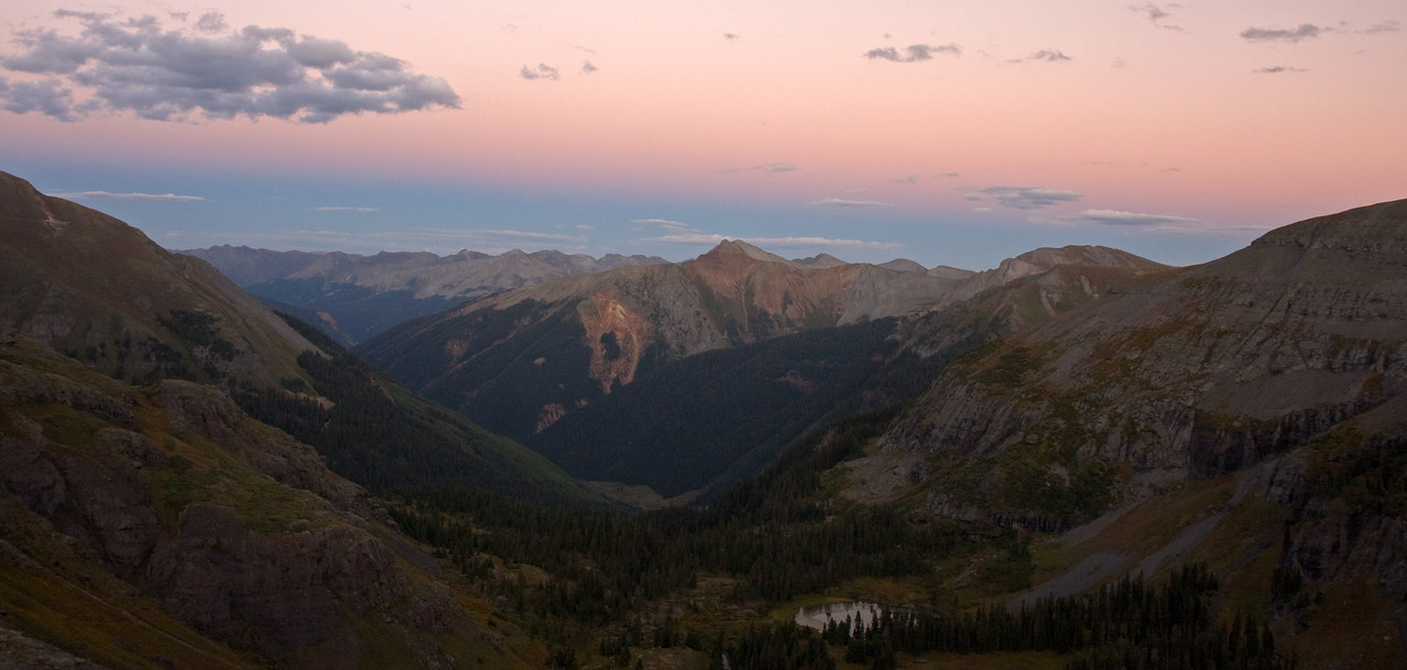 Sunset panorama taken from the bluffs above Lower Ice Lake Basin looking East towards Bear Mountain.