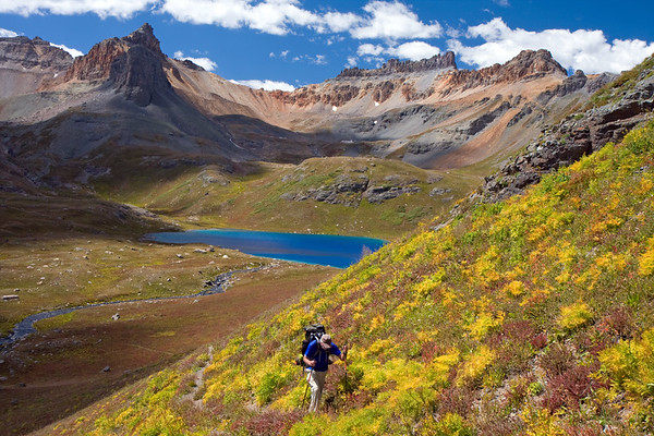 Fall colors starting to show along the trail to Island Lake. This hiker, along with many of the people we met, was from Durango, CO and was heading to Island Lake to camp for several nights. The lake in the center is Upper Ice Lake...we were camped on the near shore right by the outlet stream. If you click on a larger size of this photo, you'll be able to see our little, yellow REI tent.