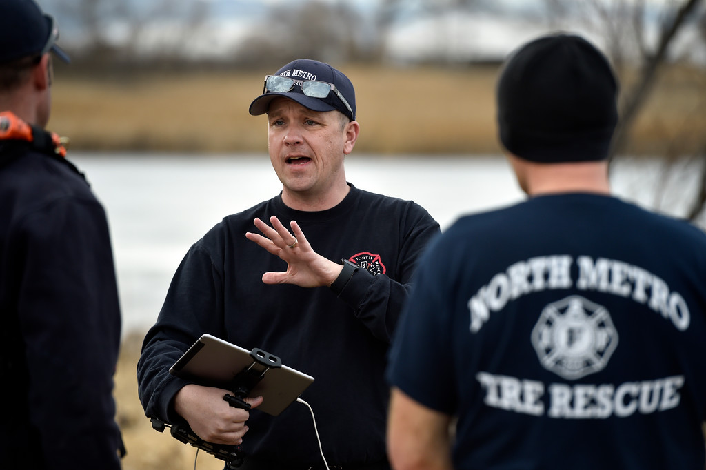 . BOULDER, CO - JANUARY 10, 2019: North Metro Fire Rescue Firefighter Jeff Burke talks about how drones can help search for bodies while training in ice rescue operations on Thursday at Stearns Lake in Broomfield. For more photos of the training go to dailycamera.com (Photo by Jeremy Papasso/Staff Photographer)
