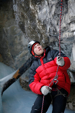 Stefan, a concentrated belayer