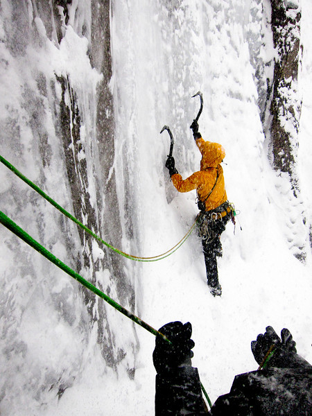 Steve Swenson leading out from a belay on Sacre' Bleu