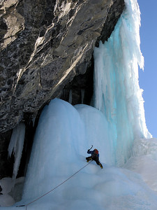 "Jeff Relph on our new route ""But we daddy's are real psychos"" M6/WI5 Mt. Murchinson, Banff National Park"