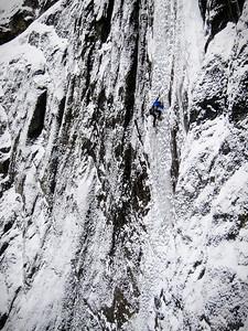 "Raphael Slawinski on a very thin ""Sacre' Bleu"", Mt. Rundle/Banff National Park"