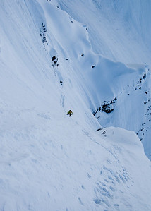 steep and involved approach to Riptide, Mt. Patterson