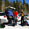Cath, Ads and Alex, getting ready in the carpark for a Canmore Junkyards expedition