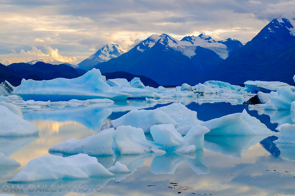 Icebergs floating in Inner Lake George, Chugach Mountains, Knik River valley area
