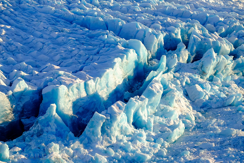 Aerial photo of the Knik Glacier, Chugach Mountains, Alaska, winter