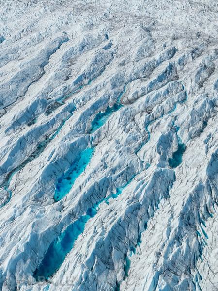 Aerial photo of the Knik Glacier, Chugach Mountains, Alaska
