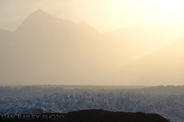 Long lens shot of the Knik Glacier