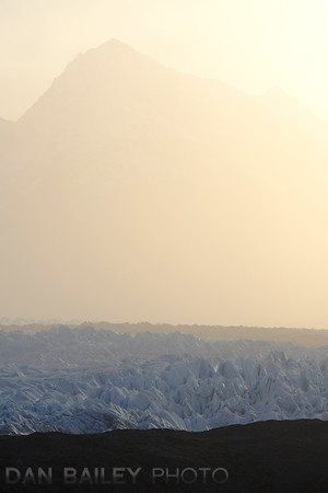Long lens shot of the Knik Glacier
