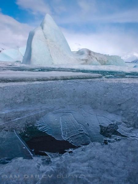 Landscapes of the Knik Glacier lagoon and icebergs, Chugach Mountains, Alaska