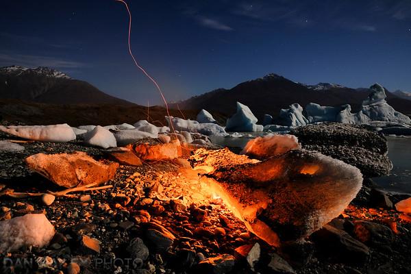 Campfire at the Knik Glacier